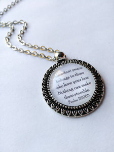 Psalm 119:165 Petal Edged Antique Silver Pendant, New World Translation, Abundant Peace, JW, JW.org, Jehovah's Witnesses, Scripture Jewelry