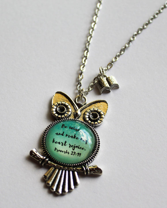 Proverbs 27:11 Owl Necklace