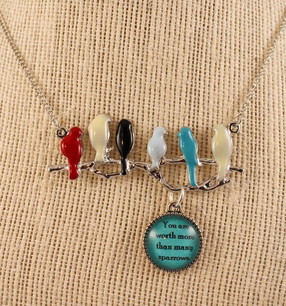 sparrows necklace with turquoise charm