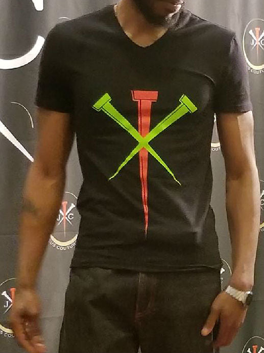 Black short-sleeved V-neck tee with neon red and green Jesus Couture logo.