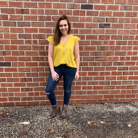 Mustard Lace Trim Top