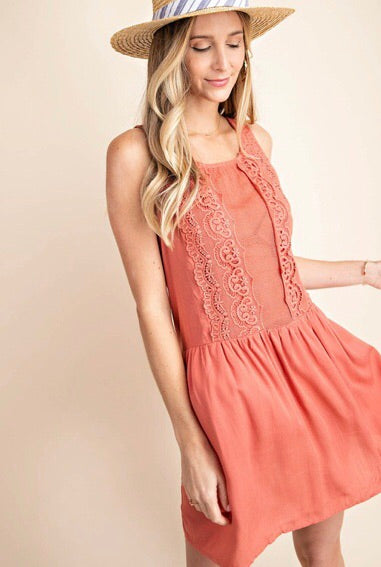 Brick Lace Detail Dress