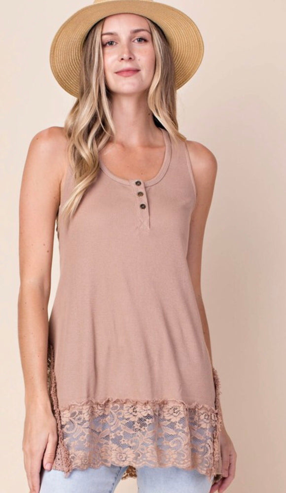 Latte Lace Ruffled Tank