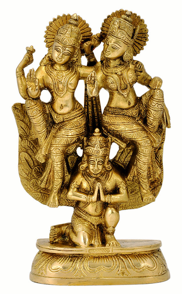 Shri Lakshmi Narayan on Mighty Garuda Brass Statue