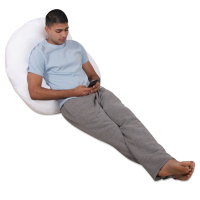 White Cotton C Shaped Body Pillow Lounge