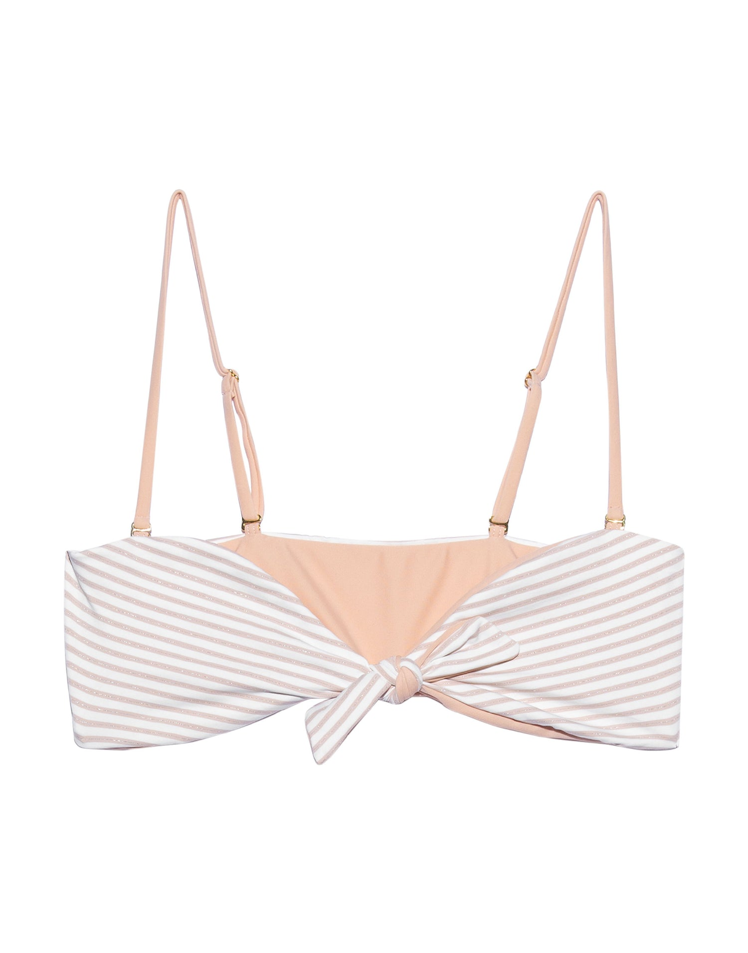 Layla Bandeau Bikini Top in Blush Stripe - Product View