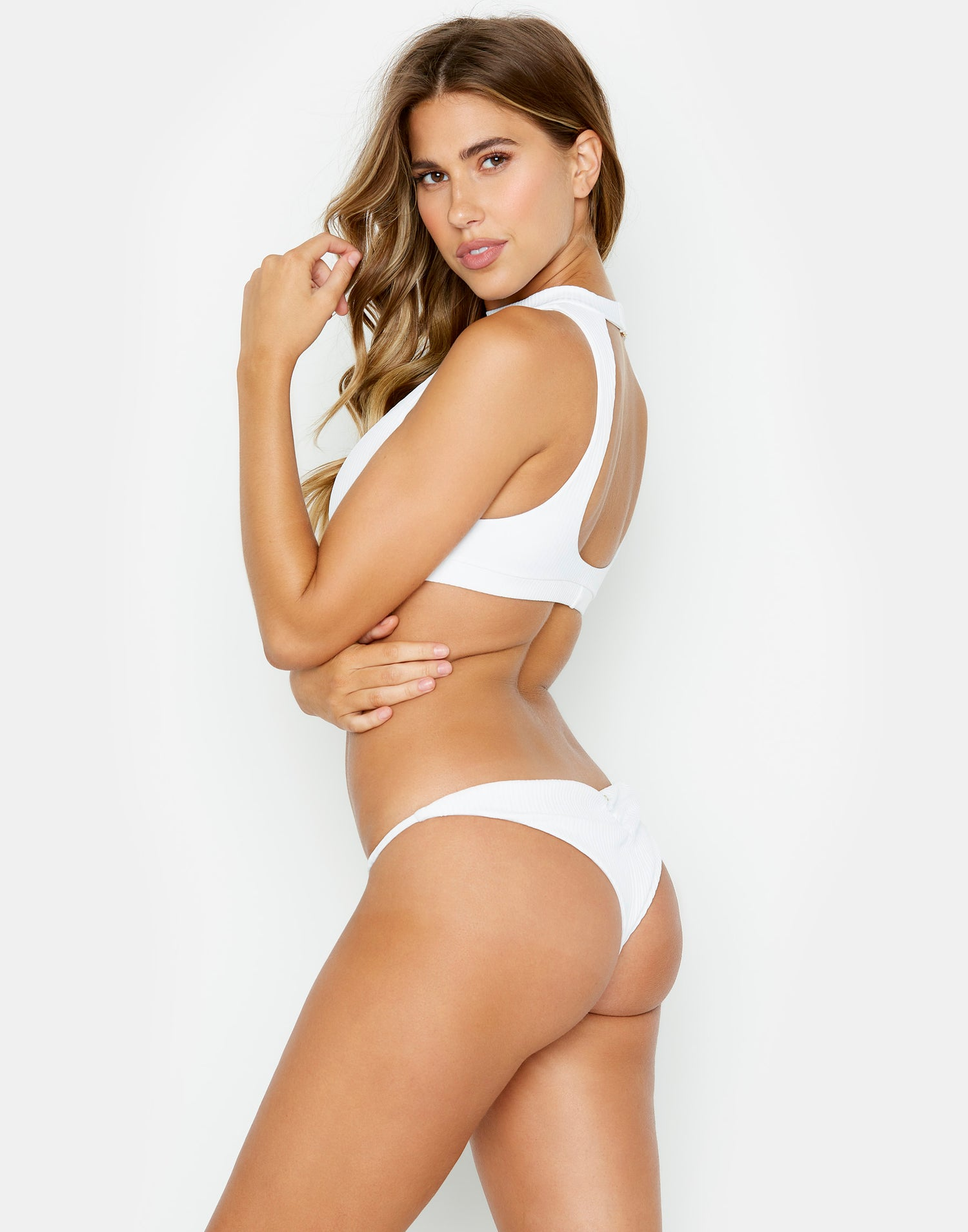 White Rib Gwen High Neck Bathing Suit - side view