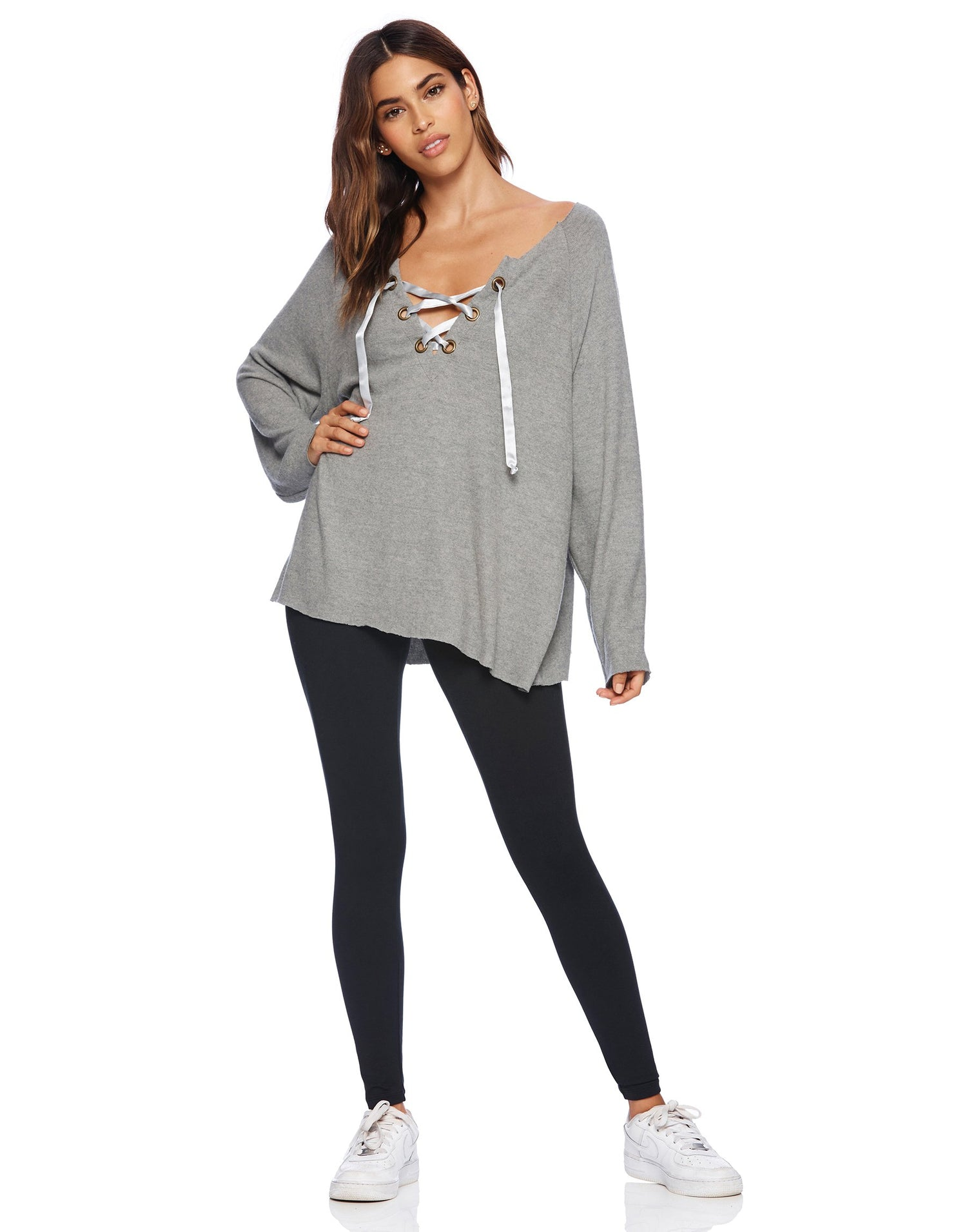 Front View - Heather Gray Josie Sweatshirt