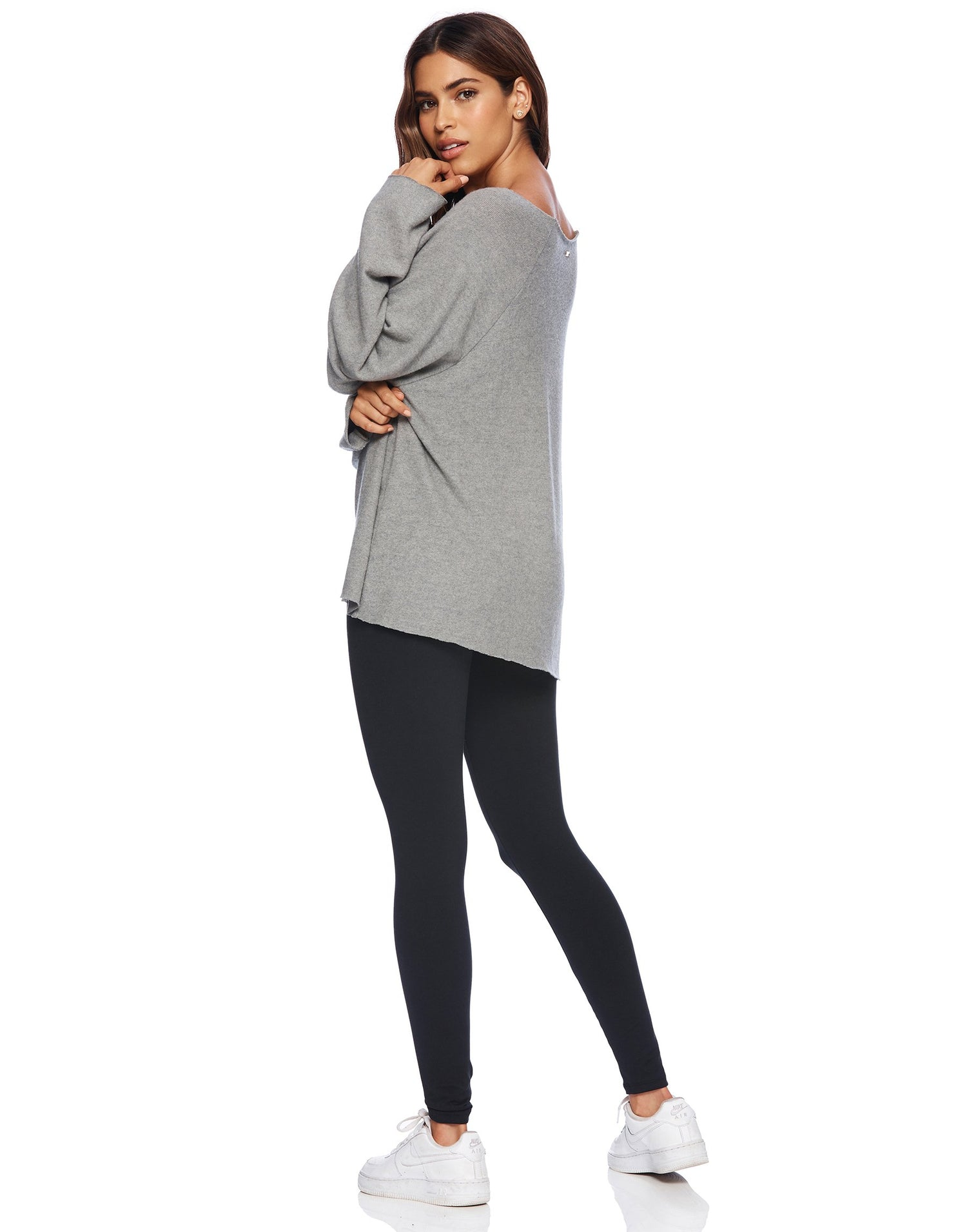 Back View - Josie Sweatshirt in Heather Gray