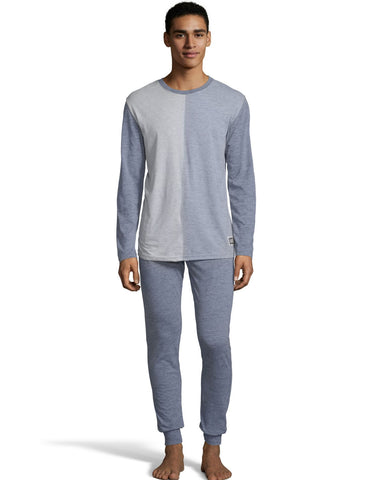 Hanes Mens Jersey Knit Jogger and Split Front Top