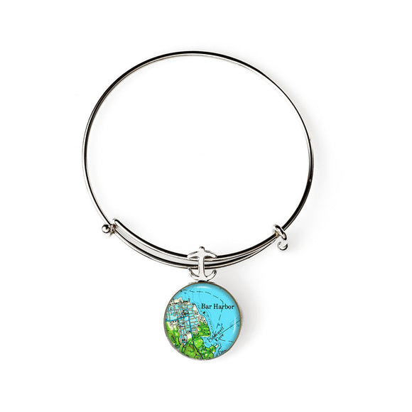 Bar Harbor Green Expandable Bracelet with Anchor Charm