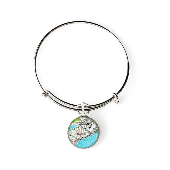 Castine Maritime Academy Expandable Bracelet with Anchor Charm