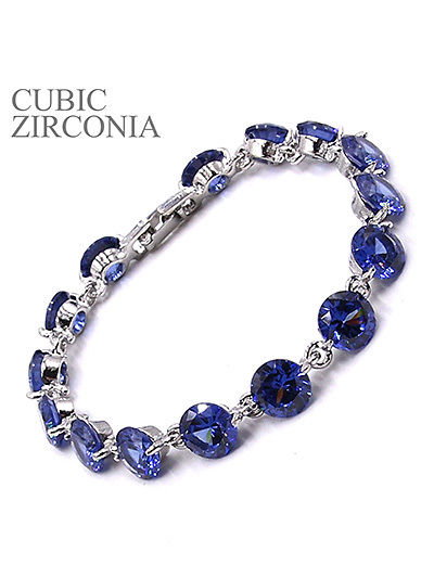 Blue Round Cubic Zirconia CZ Bracelet Fashion Jewelry