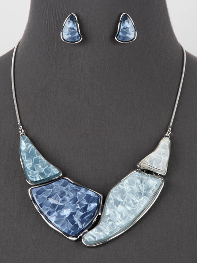 Blue Shell Accent Silver Tone Statement Necklace Earrings Set