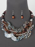 Leopard Print Silver Multi Strand Statement Bead Chunky Necklace Set
