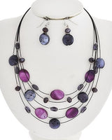 Multi-Row Strand Glass Stone Crystal Necklace Earrings Set