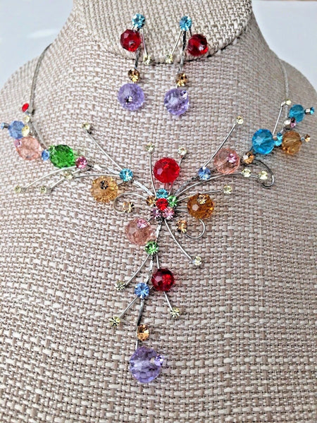 Crystal Multi Color Bib Statement Necklace Earrings Set