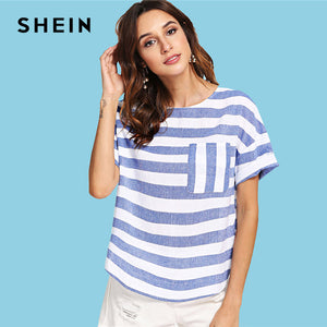 SHEIN Multicolor Weekend Casual Pocket Front Striped Round Neck Short Sleeve Blouse Summer Women Going Out Shirt Top
