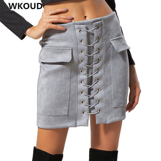 WKOUD 2018 Women's Skirts With Pocket Fashion High Waist Bandage Skirt Candy Colors Hot Sale Bottom Casual Wear H1044