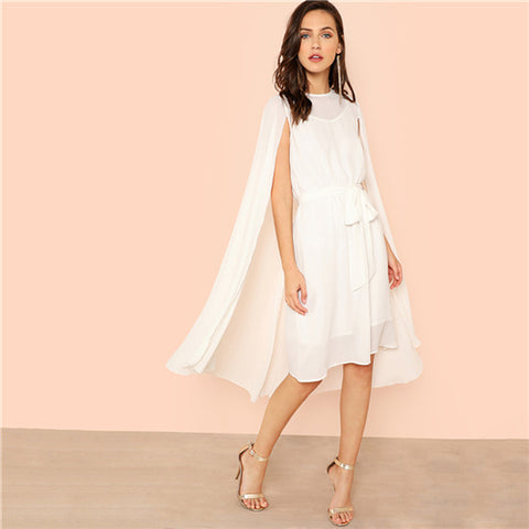 SHEIN White Vacation Boho Bohemian Beach Solid Swing Round Neck Dress With Longline Cami Summer Women Weekend Casual Dresses