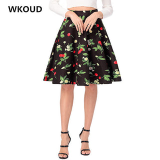 WKOUD Women High Waist Skirts 2018 Spring Vintage Digital Printed Skirt Female Casual Wear Bottoms Knee-Length Saias H1062