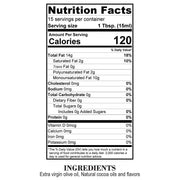 Nutrition Facts Dark Chocolate Olive Oil