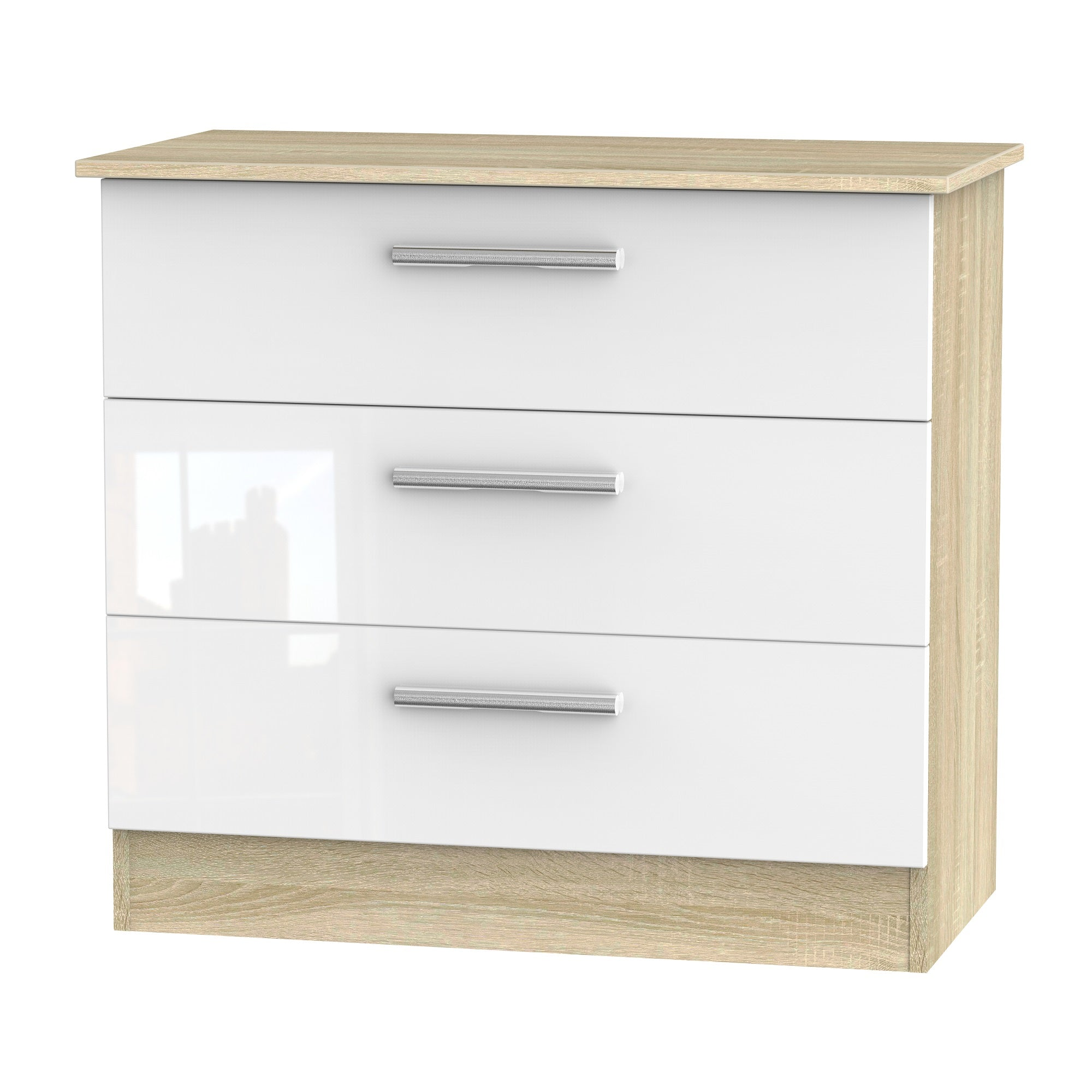 Cheap and Cheerful Chests of Drawers In White Gloss and Oak