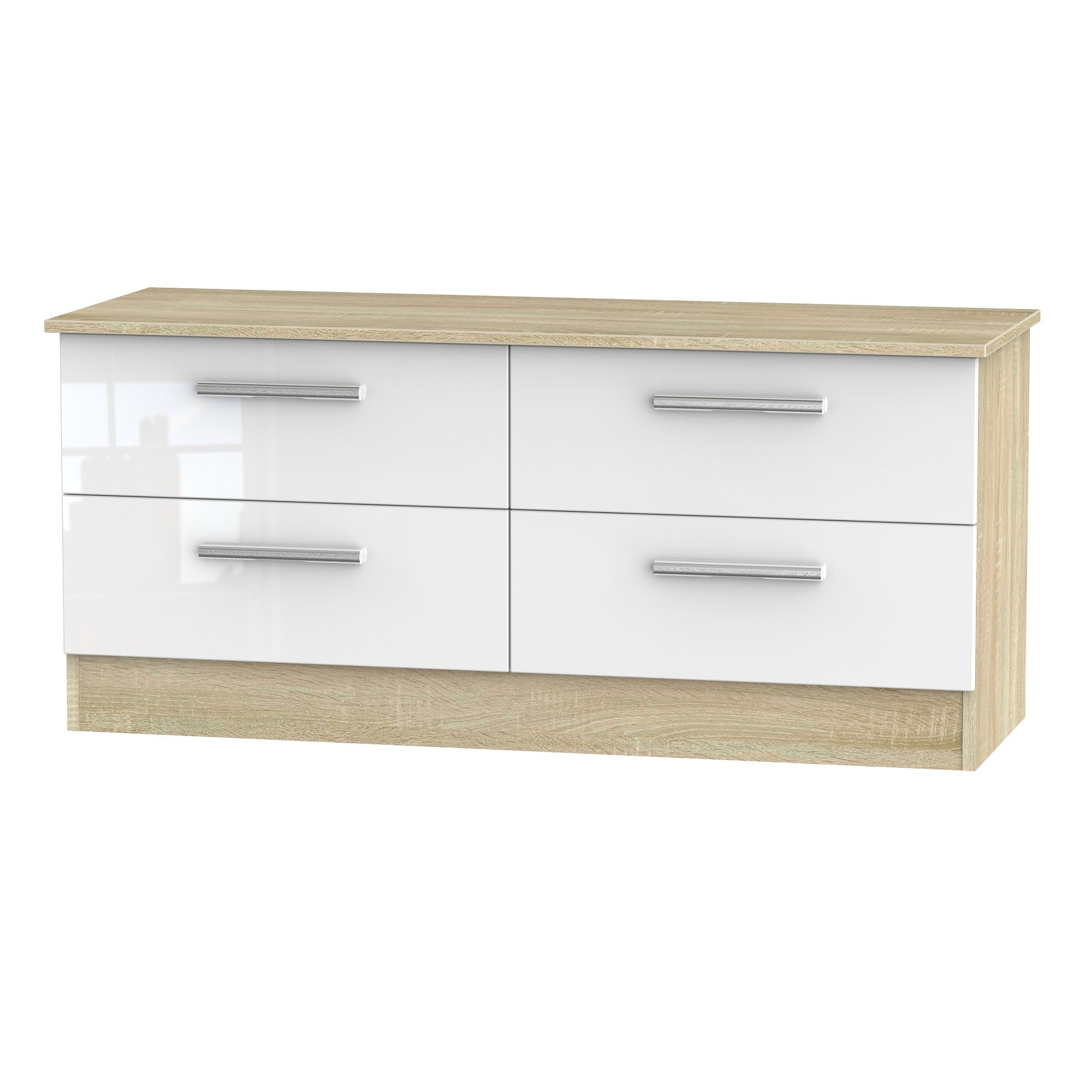Cheap and Cheerful Ottoman and Bed End Storage In White Gloss and Oak