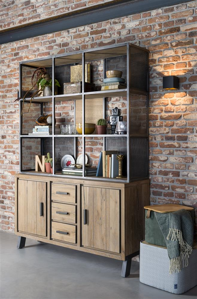 Habufa Vitoria Gun Metal and Oak Buffet Hutch
