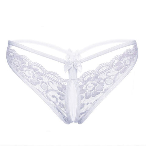 Sexy Open Crotch White Lace Seamless Panties