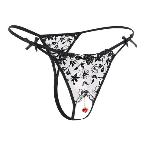 Sexy Sheer Lace G-string Pendant Panties
