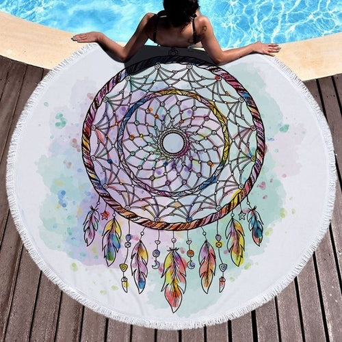 Dream Catcher Round Fringe Beach Towel Yoga Mat - Gypsy and the Wolf