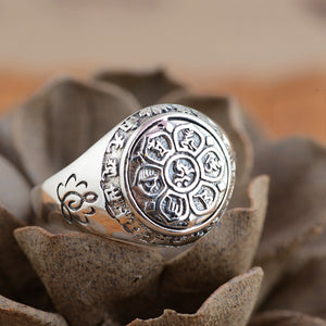 Buddhist Mantra Ring - Pure 925 Silver - Gypsy and the Wolf