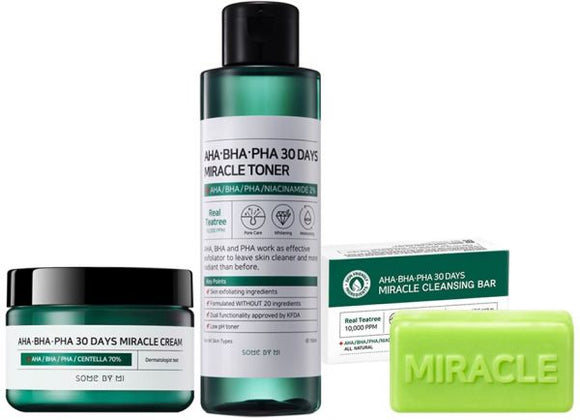 [SOME BY MI] AHA BHA PHA 30 Days Miracle Cream + Miracle Toner + Cleansing Bar - beautique-online