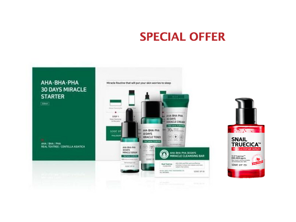 [SOME BY MI] AHA BHA PHA 30 Days Starter Limited Edition 4 Pcs Set+ [SOME BY MI] Snail Truecica Miracle Repair Serum, 50ML - beautique-online