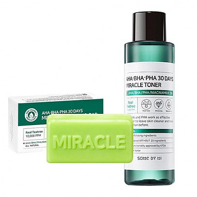 [SOME BY MI] AHA BHA PHA 30 Days Miracle Toner + Miracle Cleansing Bar - beautique-online