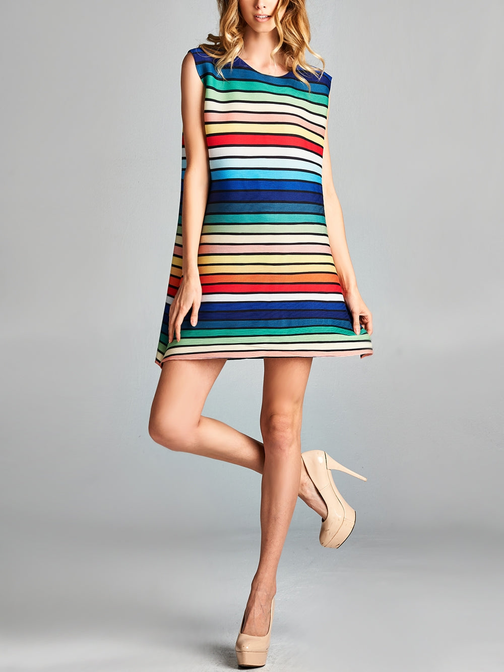 Pleated  Striped  Sleeveless Multi Color Dress 87186
