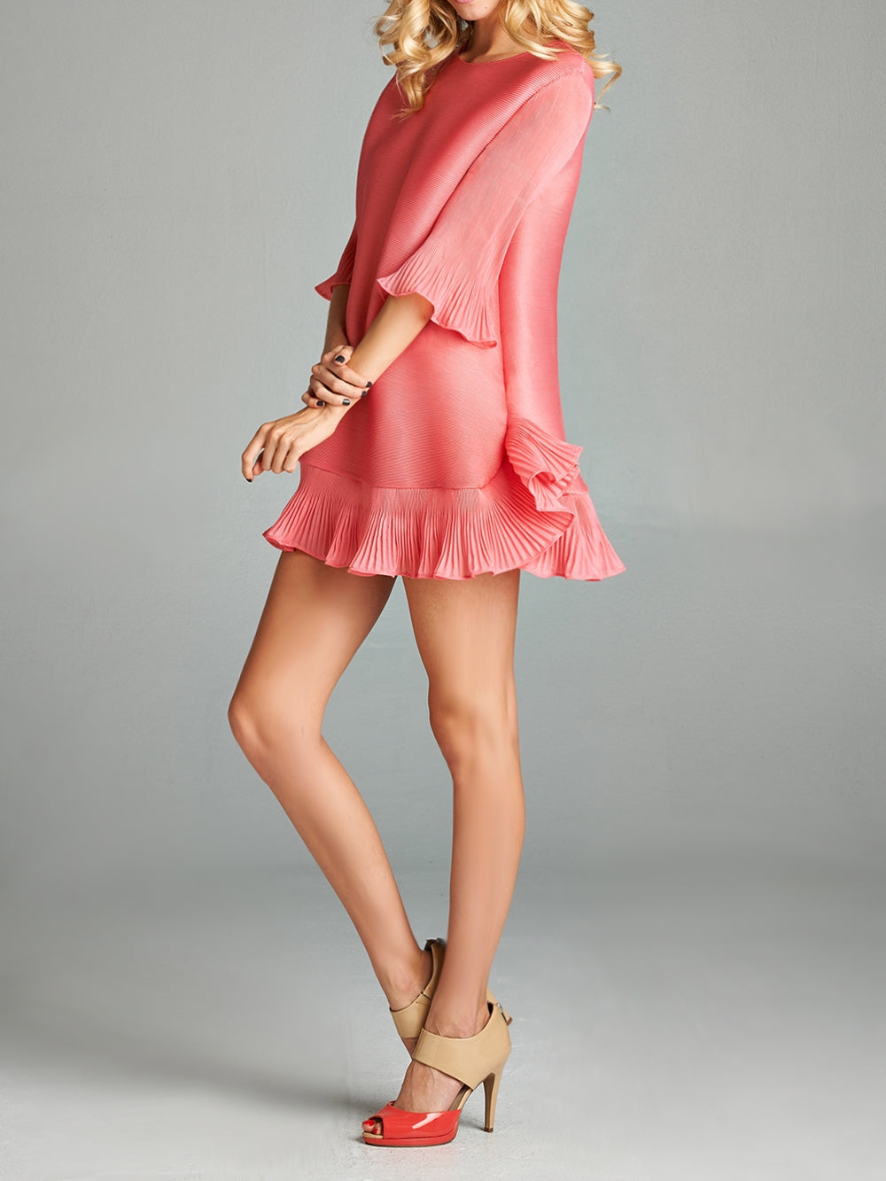 Pleated Pink Chloe  Dress With Ruffle Bottom 60435