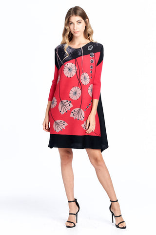 Pleated Akua Dress Red 61038
