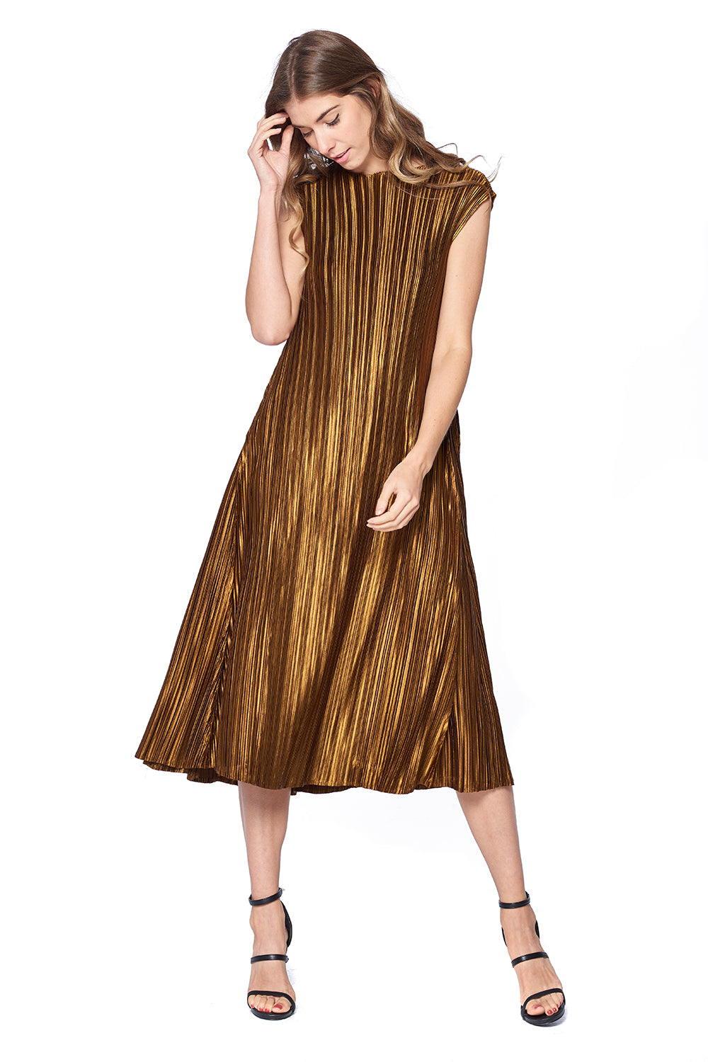 Pleated Hibah Dress Gold 87326