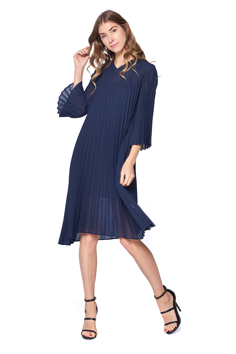 Pleated Demarco Dress Navy L588