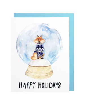 Fox Snow Globe Card Set of 6
