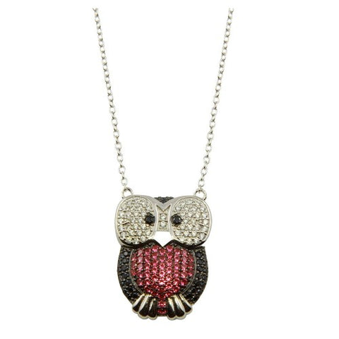 .925 Sterling Silver Owl Pendant Necklace with CZ