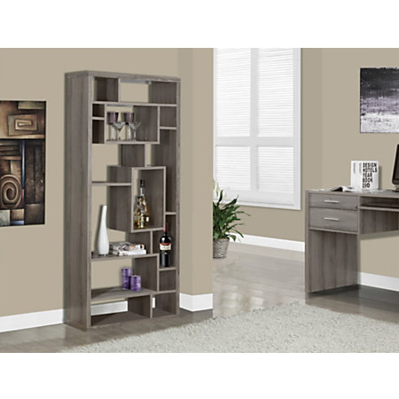 Monarch Specialties Outlet 14-Shelf Bookcase, Dark Taupe