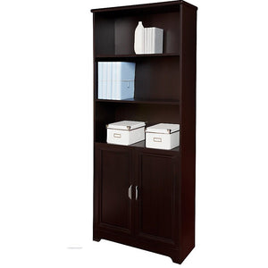 "Realspace Magellan Outlet 5-Shelf Bookcase With Doors, 72""H x 30 1/2""W x 11 3/5""D, Espresso"