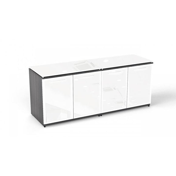Chiarezza Double Storage with White Glass Doors and Tops