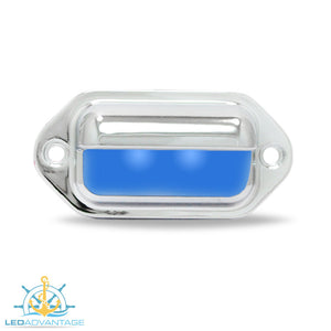 12v Chrome Plated Waterproof Compact Surface Mount LED Courtesy Light (Blue LED)