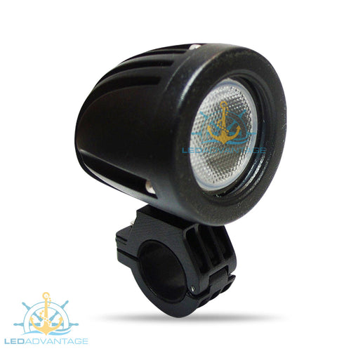 12v~24v 10 Watt Bow Rail Mount/Biminis Mount Marine LED Light (Black Housing)