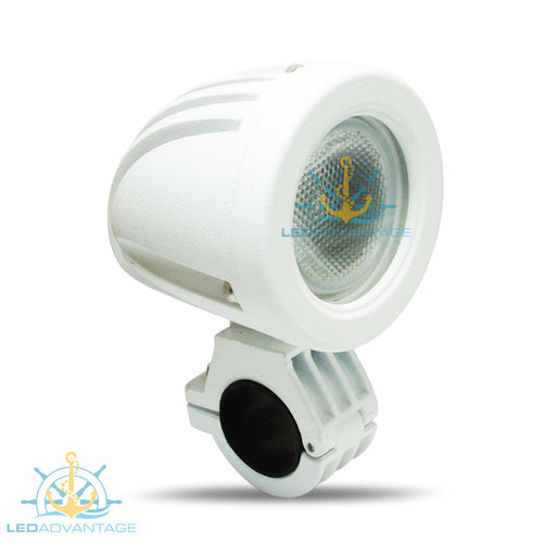 12v~24v 10 Watt Bow Rail Mount/Biminis Mount Marine LED Light (White Housing)