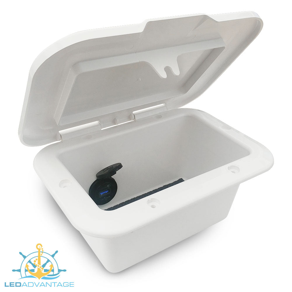 White Compact Recessed Storage Box & USB Charger